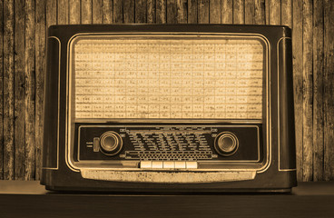 Old radio. Front view