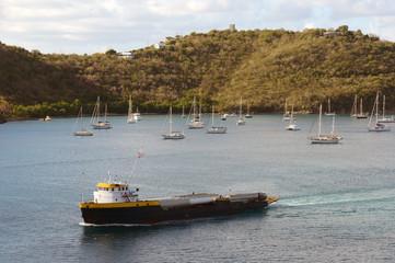 Cargo ship near Caribbean island