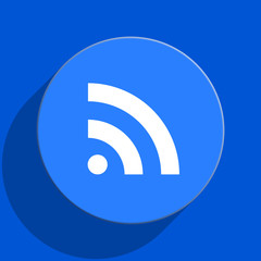 rss blue web flat icon