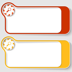 set of two abstract text boxes with arrows and magnifier