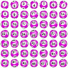 Boules de loto roses numérotées de 1 à 49