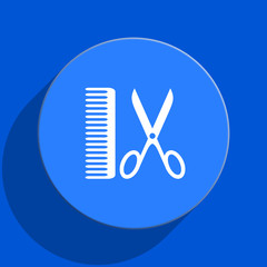 barber blue web flat icon