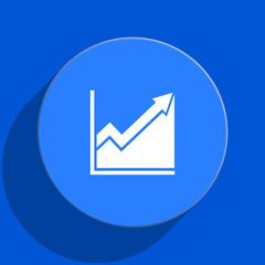 histogram blue web flat icon
