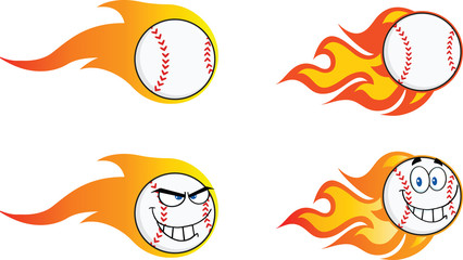 Flaming Baseball Balls. Collection Set