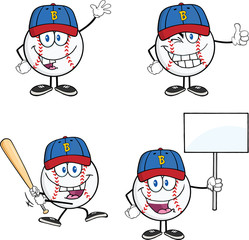 Baseball Ball Cartoon Mascot Characters 2. Collection Set