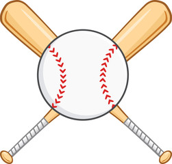 Crossed Baseball Bats And Ball. Illustration Isolated on white