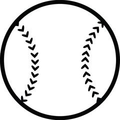 Black and White Baseball Ball. Illustration Isolated on white
