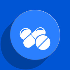 medicine blue web flat icon