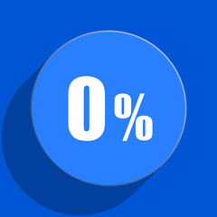 0 percent blue web flat icon