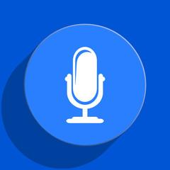 microphone blue web flat icon