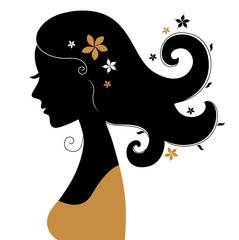 Retro woman silhouette with flowers in hair