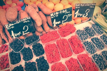 Fruit market retro. Cross processing color tone.