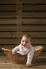 bebe recien nacido en una cesta de mimbre fondo madera vertical