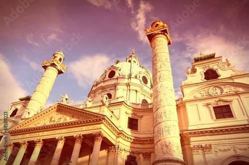 Karlskirche, Vienna. Cross processing color tone.