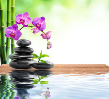 spa background whit bamboo , orchids and water