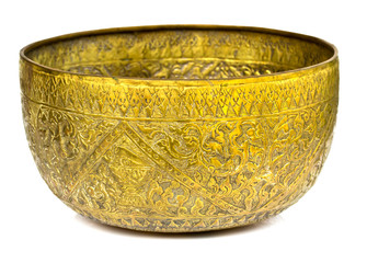 Old antique vintage bronze, brass bowl, isolated on white backgr