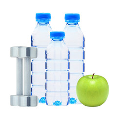 Blue bottles with water, chromed fitness dumbbells and green app