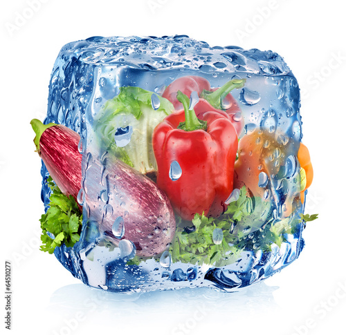 Ice cube with vegetables