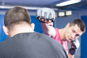 mma fighters at training