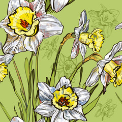 Seamless background with spring narcissus flower