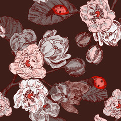 seamless pattern with flowers and ladybird