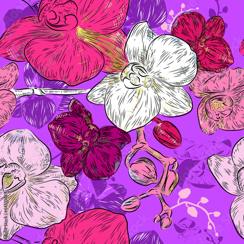 Tapeta Abstract Seamless orchid Pattern
