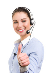 Portrait of smiling female  phone operator in ok gesture
