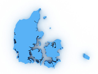 High detailed map Denmark 3D