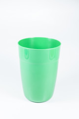 Glass, plastic green . on White background