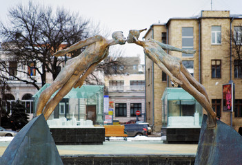 Flying in love - a sculpture in Kharkiv, Ukraine