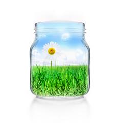 Einmachglas mit Landschaft