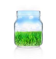 Einmachglas mit Wiese