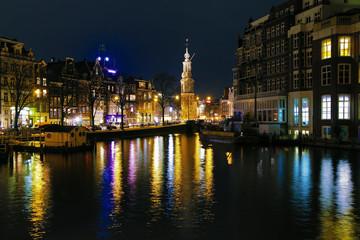 Åvening view on the Munttoren (Coin Tower) in Amsterdam