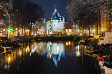 Evening view on the De Waag in Amsterdam