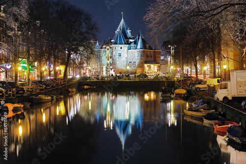 Plexiglas Amsterdam Evening view on the De Waag in Amsterdam