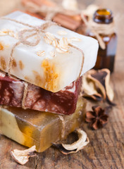 Handmade soap, cinnamon and dried flower.