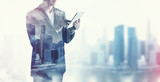 Fototapety double exposure of businessman and city