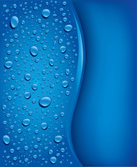 banner with water drops on blue background
