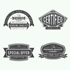 set of retro vintage black labels and banners