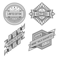 set of retro outline black color vintage labels and banners