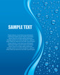 banner with water drops on blue background - 64513230