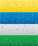banner with water drops on different color background