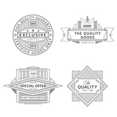 set of retro ribbon vintage style black labels and banners