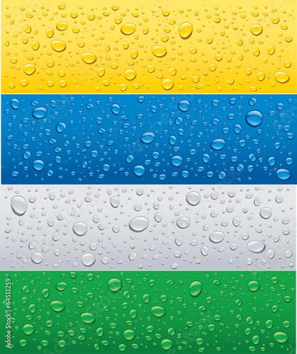 banner with water drops on different color background - 64513259