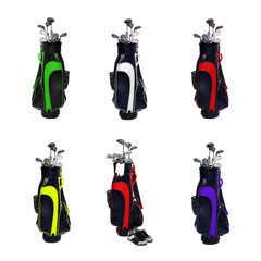 Collection of a golf clubs bags.