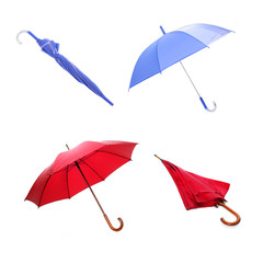 Collection of red and blue umbrellas.