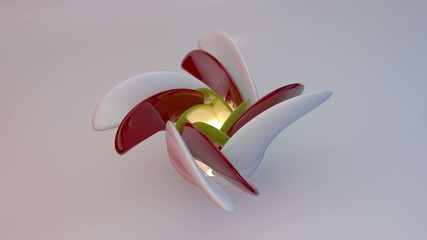 Beautiful blossoming flower of ceramics. 3D illustration