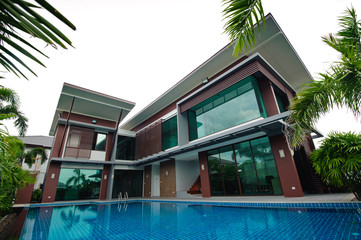 Swimming pool and modern building