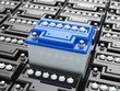 Car batteries background. Blue accumulators. - 64513850