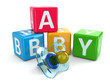Dummy or pacifier and buzzword blocks with word baby.